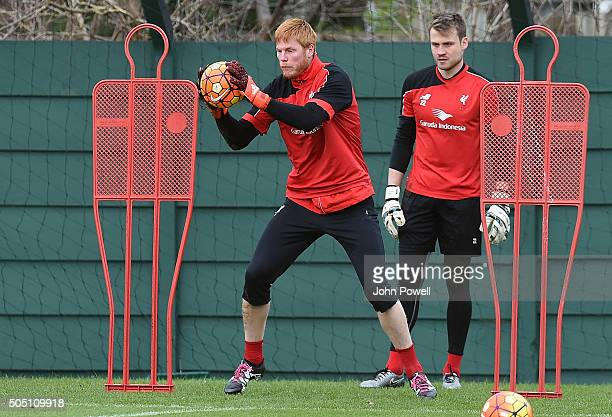 Adam Bogdan of Liverpool in action during a training session at Melwood Training Ground on January 15 2016 in Liverpool England
