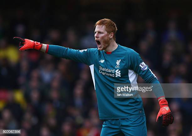 Adam Bogdan of Liverpool shouts during the Barclays Premier League match between Watford and Liverpool at Vicarage Road on December 20 2015 in...