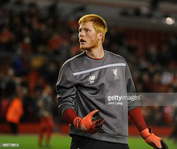 Adam Bogdan of Liverpool warms up before the UEFA Europa League match between Liverpool FC and FC Rubin Kazan on October 22 2015 in Liverpool United...