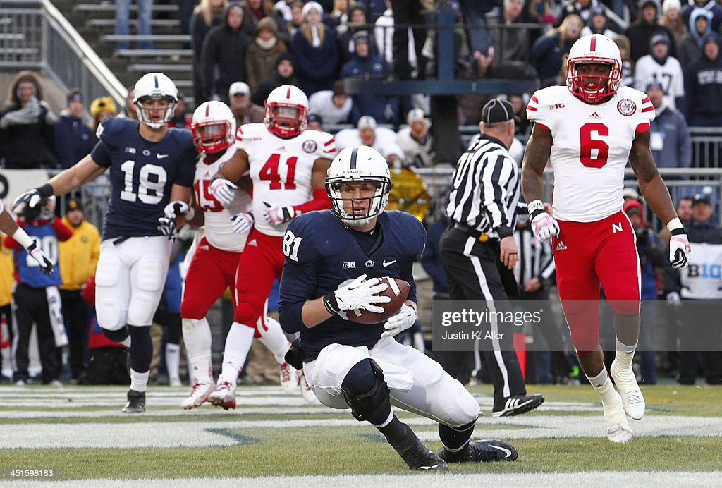 Adam Breneman #81 of the Penn State Nittany Lions catches a 2 yard touchdown pass against the Nebraska Cornhuskers during the game on November 23, 2013 at Beaver Stadium in State College, Pennsylvania.