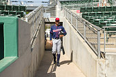 Adam Brett Walker of the Minnesota Twins looks on and takes the field against the Boston Red Sox during a spring training game on March 2 2016 at...
