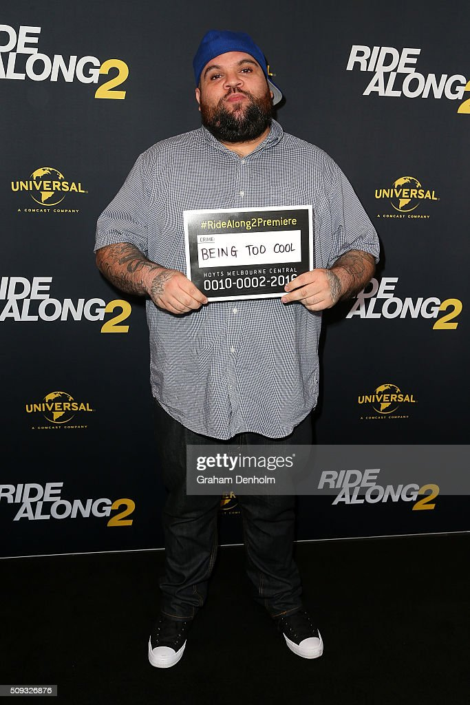 Adam Briggs of Hilltop Hoods arrives ahead of the Ride Along 2 Australian Premiere at Hoyts Melbourne Central on February 10, 2016 in Melbourne, Australia.
