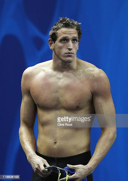 Adam Brown of Great Britain looks on after the Men's 100m Freestyle heats during Day Twelve of the 14th FINA World Championships at the Oriental...
