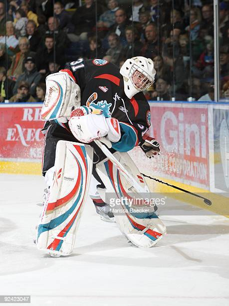 Adam Brown of the Kelowna Rockets makes a pass against the Vancouver Giants at Prospera Place on October 24 2009 in Kelowna British Columbia Canada