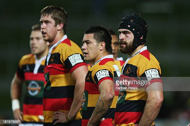 Adam Burn of Waikato looks on with his team after another try is scored by Wellington during the round seven ITM Cup match between Waikato and...