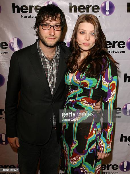 Adam Bush and Amber Benson during 'Race You to the Bottom' Los Angeles Premiere Arrivals at Regent Showcase Theatre in Los Angeles California United...