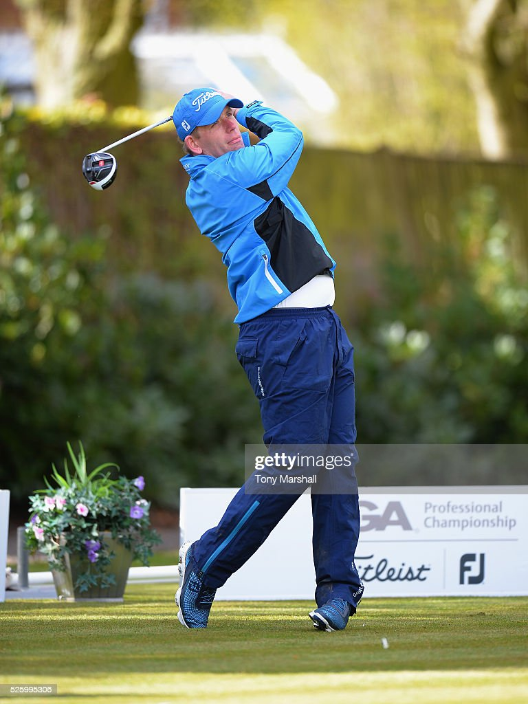 Adam Callagher of Wollaton Park Golf Club plays his first shot on the 1st tee during the PGA Professional Championship - Midland Qualifier at Little Aston Golf Club on April 29, 2016 in Sutton Coldfield, England.