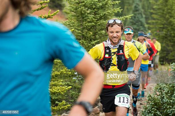 Adam Campbell 3113 races near mile two before the crossing at Mineral Creek during the 1005mile Hardrock 100 Endurance Run on July 11 in the San Juan...