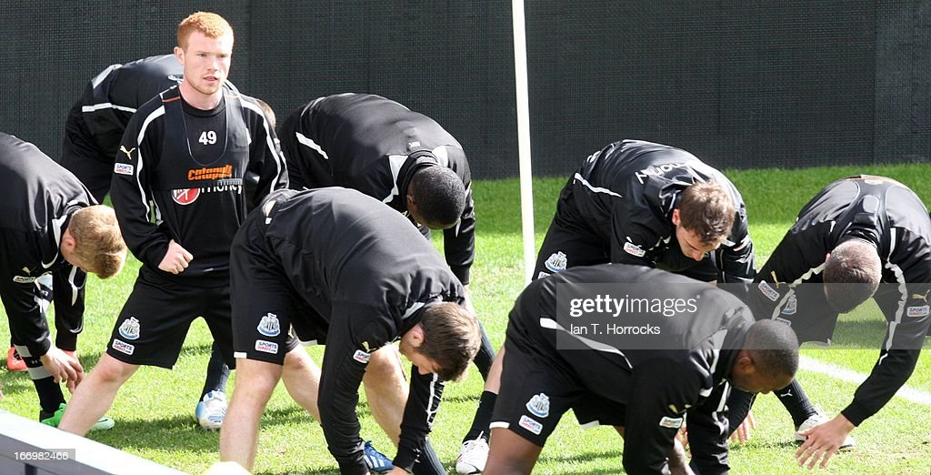 Adam Campbell stretches during a Newcastle United training session at St James' Park on April 19, in Newcastle upon Tyne, England.