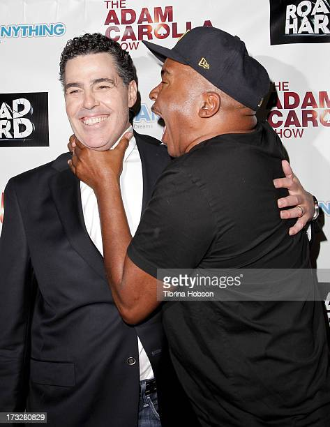 Adam Carolla and David Alan Grier attend the Adam Carolla and Donald Trump press conference at ACME Comedy Theatre on July 10 2013 in Los Angeles...