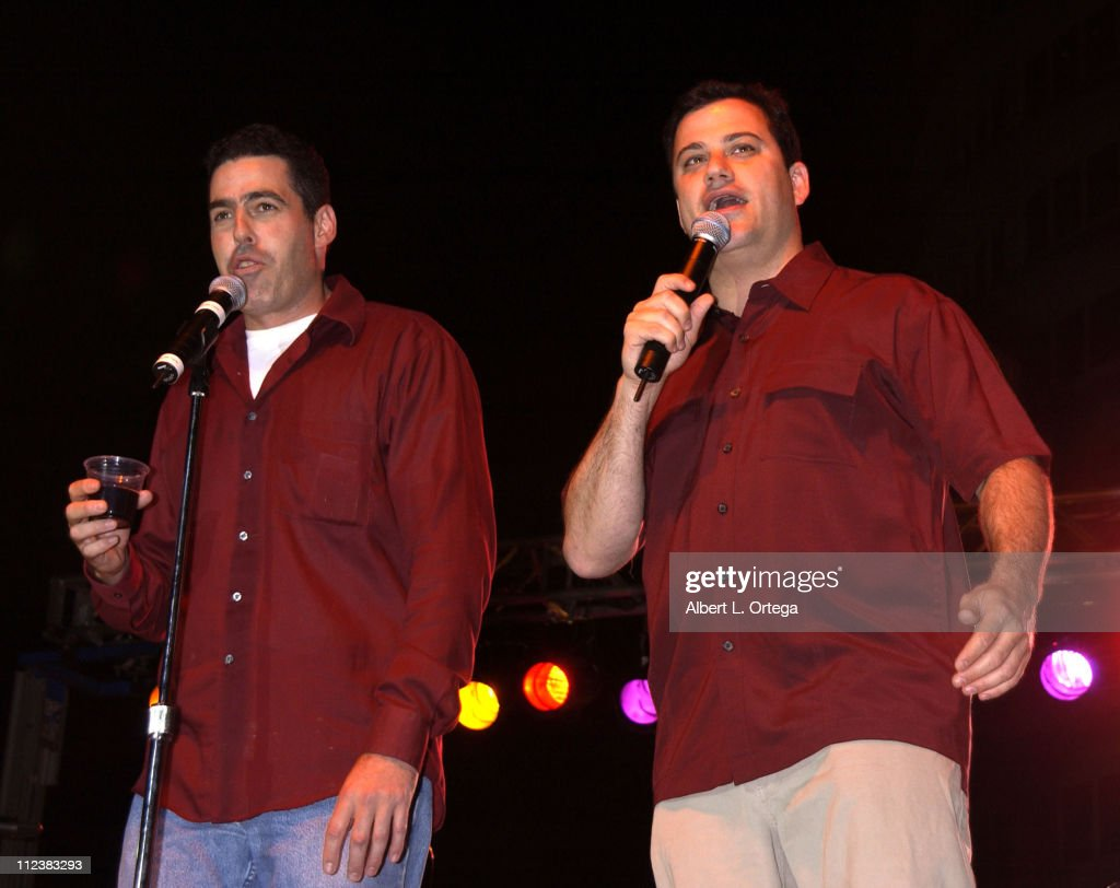 Adam Carolla and Jimmy Kimmel during The Feast of San Gennaro Presented by Precious Cheese - Day 1 at Hollywood Ivar Lot in Hollywood, California, United States.