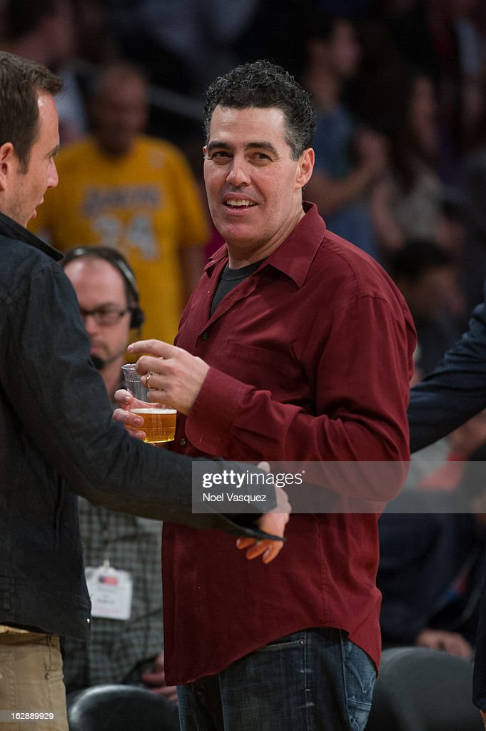 <a gi-track='captionPersonalityLinkClicked' href=/galleries/search?phrase=Adam+Carolla&family=editorial&specificpeople=226591 ng-click='$event.stopPropagation()'>Adam Carolla</a> attends a basketball game between the Minnesota Timberwolves and Los Angeles Lakers at Staples Center on February 28, 2013 in Los Angeles, California.