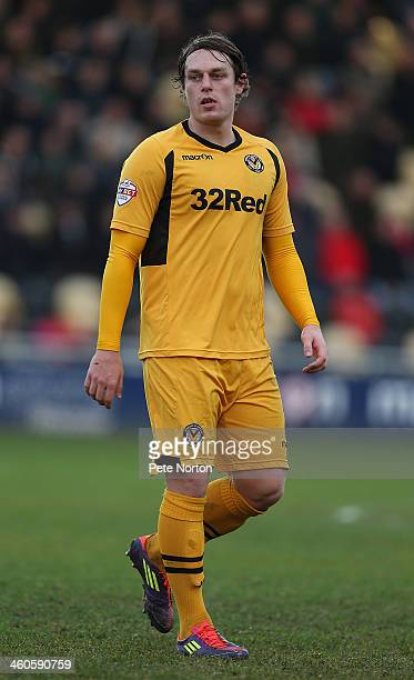 Adam Chapman of Newport County AFC in action during the Sky Bet League Two match between Newport County and Northampton Town at Rodney Parade on...