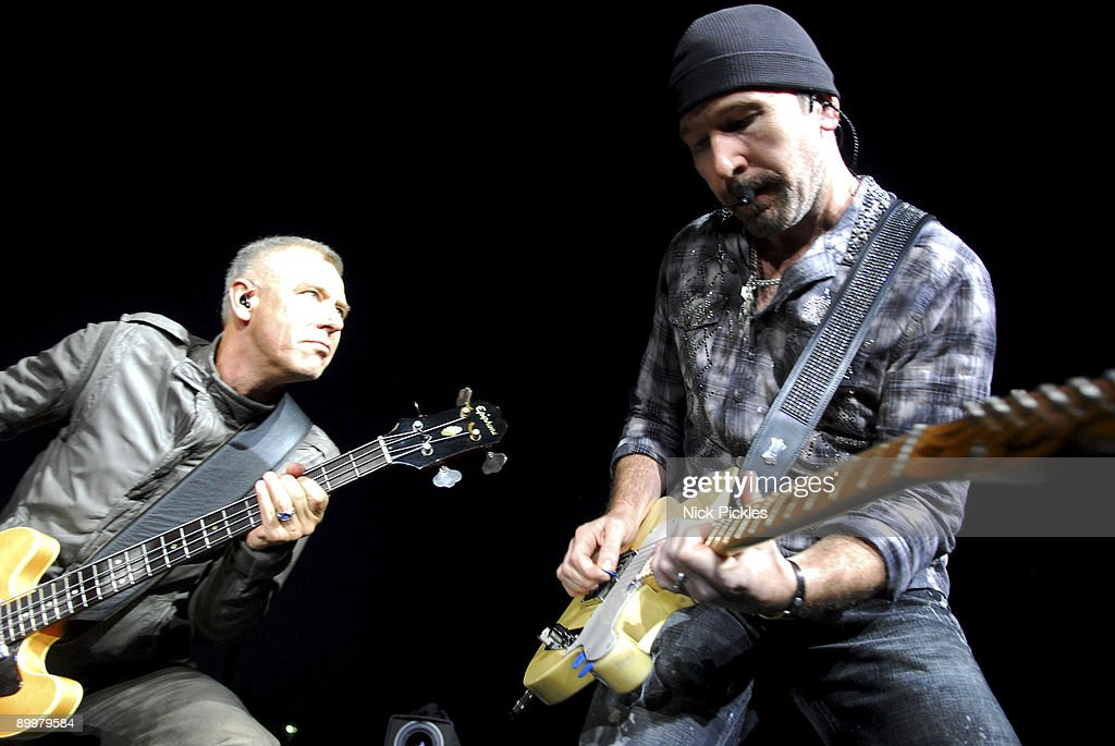 Adam Clayton (L) and The Edge of U2 perform at Don Valley Stadium on August 20, 2009 in Sheffield, England.