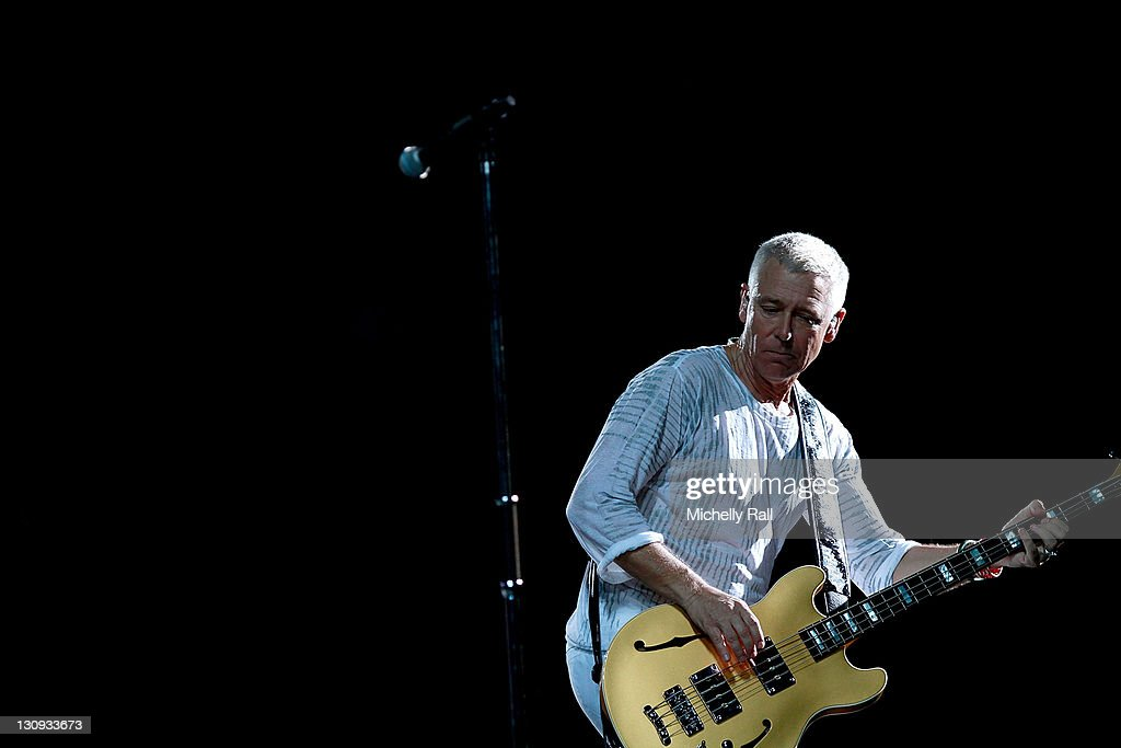 Adam Clayton lead guitarist of Irish Band U2 performs live as part of the 360 Tour at the Cape Town Stadium on February 18 2011 in Cape Town South...
