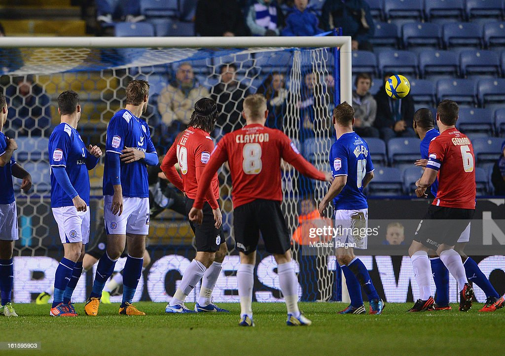Adam Clayton of Huddersfield scores a free kick to make it 1-0 during the FA Cup Fourth Round Replay between Leicester City and Huddersfield Town at The King Power Stadium on February 12, 2013 in Leicester, England.