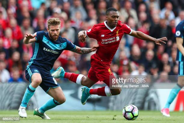 Adam Clayton of Middlesbrough and Daniel Sturridge of Liverpool during the Premier League match between Liverpool and Middlesbrough at Anfield on May...