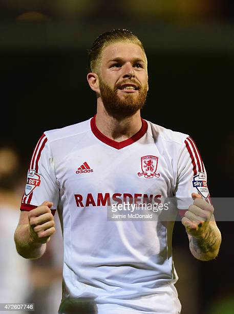Adam Clayton of Middlesbrough celebrates during the Sky Bet Championship Playoff semifinal first leg match between Brentford and Middlesbrough at...