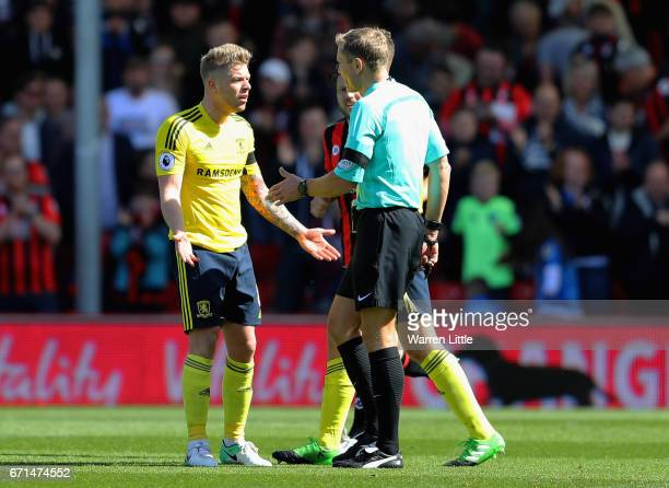 Adam Clayton of Middlesbrough protests Bournemouths second goal during the Premier League match between AFC Bournemouth and Middlesbrough at the...