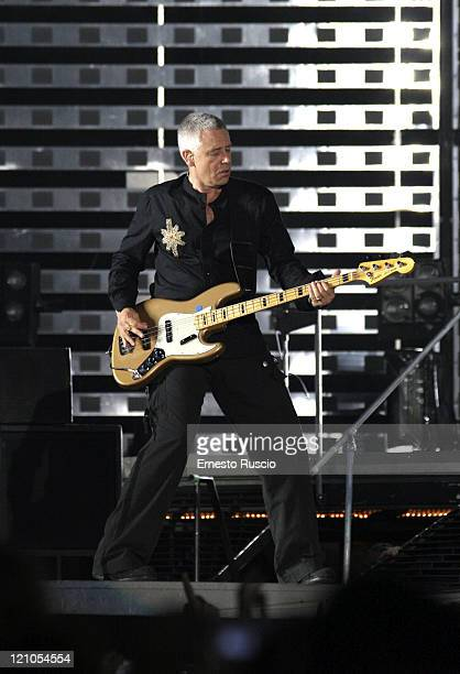 Adam Clayton of U2 during U2 'Vertigo' Tour at Stadio Olimpico in Rome July 23 2005 at Stadio Olimpico in Rome Italy