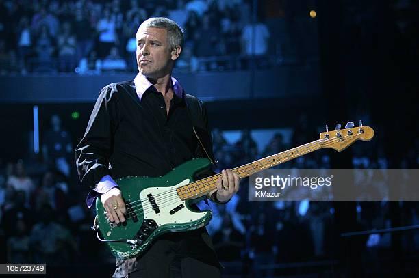 Adam Clayton of U2 during U2 'Vertigo//2005' World Tour Anaheim at Arrowhead Pond of Anaheim in Anaheim California United States