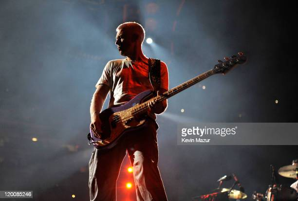 Adam Clayton of U2 performs during the U2 360 Tour at New Meadowlands Stadium on July 20 2011 in East Rutherford New Jersey