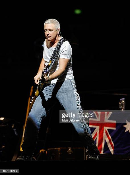 Adam Clayton of U2 performs on stage during the Perth leg of their 360 Degree Tour at Subiaco Oval on December 18 2010 in Perth Australia