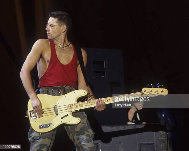 Adam Clayton with U2 performs at the Oakland Coliseum in Oakland California in November 15 1987