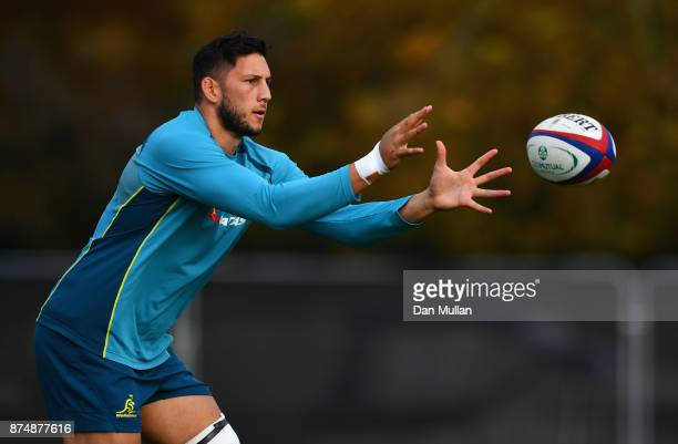 Adam Coleman of Australia receives a pass during a training session at the Lensbury Hotel on November 16 2017 in London England Australia are due to...
