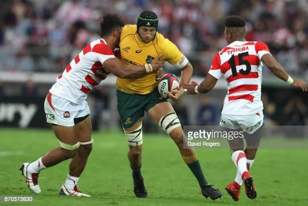 Adam Coleman of Australia runs with the ball during the rugby union international match between Japan and Australia Wallabies at Nissan Stadium on...