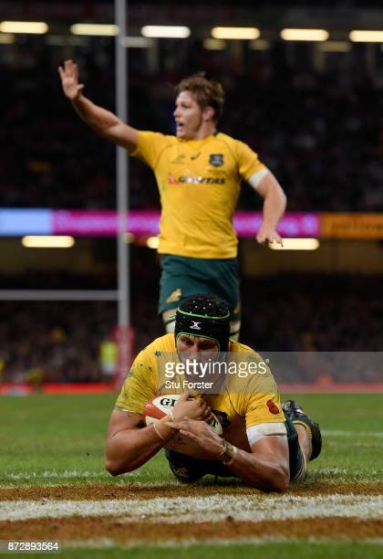 Adam Coleman of Australia touches down for the second try during the Under Armour Series match between Wales and Australia at Principality Stadium on...