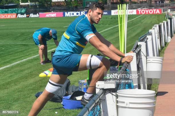 Adam Coleman of Australia warms up during the Australia Team Announcement and Training Session ahead of the match against Argentina at San Isidro...