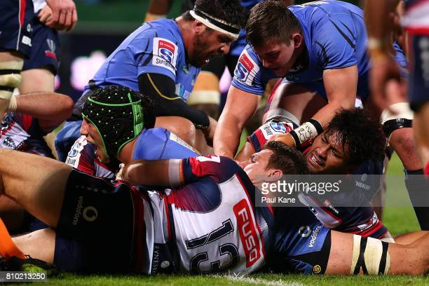 Adam Coleman of the Force crosses for a try during the round 16 Super Rugby match between the Force and the Rebels at nib Stadium on July 7 2017 in...