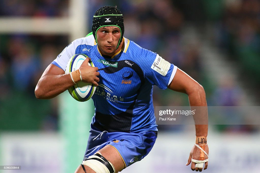 Adam Coleman of the Force runs the ball during the round 10 Super Rugby match between the Force and the Bulls at nib Stadium on April 29, 2016 in Perth, Australia.