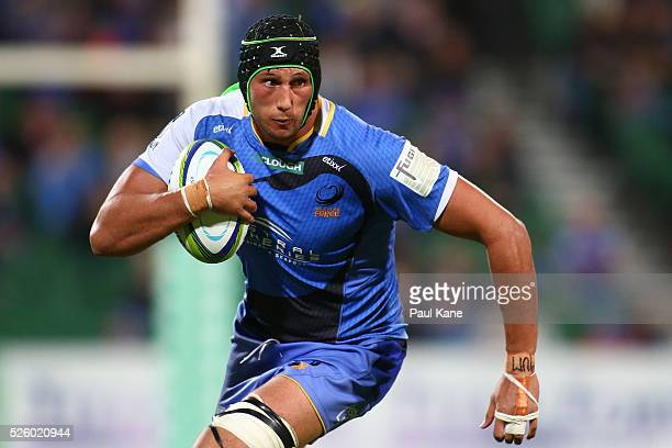 Adam Coleman of the Force runs the ball during the round 10 Super Rugby match between the Force and the Bulls at nib Stadium on April 29 2016 in...