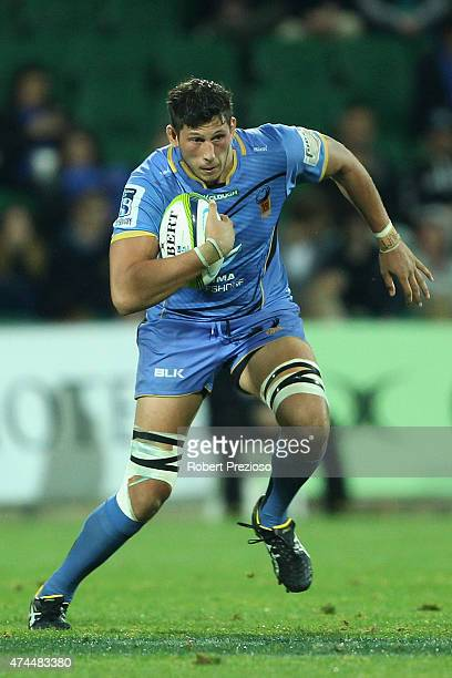 Adam Coleman of the Force runs with the ball during the Super Rugby round 15 match between the Force and the Highlanders at nib Stadium on May 23...