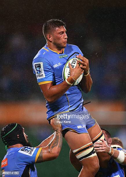 Adam Coleman of the Force wins a lineout during the round nine Super Rugby match between the Force and the Cheetahs at nib Stadium on April 11 2015...