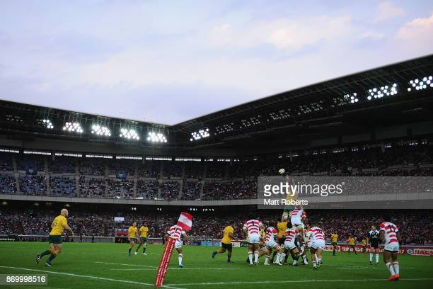 Adam Coleman of the Wallabies competes in the lineout against Michael Leitch of Japan during the international match between Japan and Australia at...