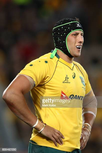 Adam Coleman of the Wallabies looks dejected after an All Blacks try during The Rugby Championship Bledisloe Cup match between the Australian...