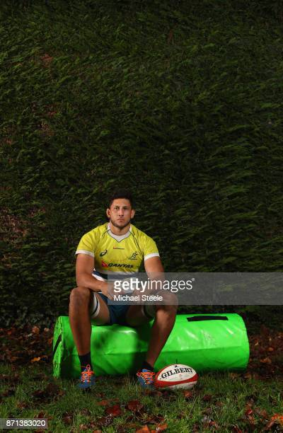Adam Coleman poses for a portrait following the Australia training session at Sport Wales on November 7 2017 in Cardiff Wales