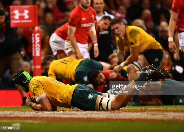 Adam Coleman touches down for the second try during the Under Armour Series match between Wales and Australia at Principality Stadium on November 11...