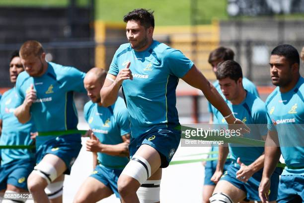 Adam Coleman trains during the Australian Wallabies training session at Leichhardt Oval on October 31 2017 in Sydney Australia