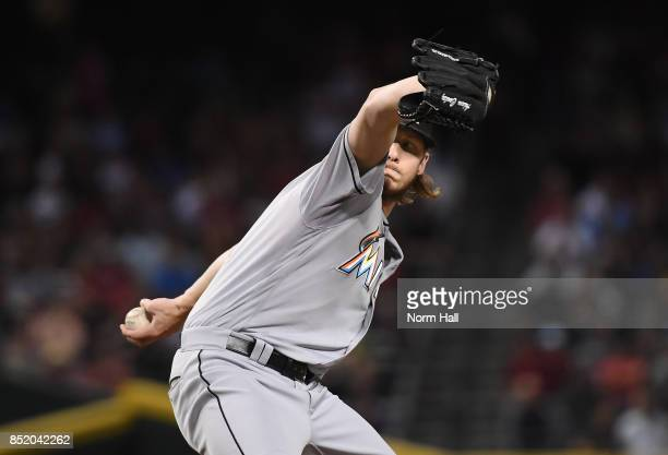 Adam Conley of the Miami Marlins delivers a first inning pitch against the Arizona Diamondbacks at Chase Field on September 22 2017 in Phoenix Arizona