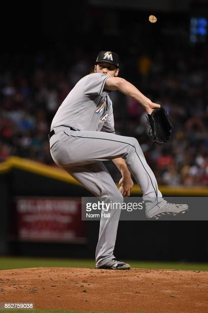 Adam Conley of the Miami Marlins delivers a pitch against the Arizona Diamondbacks at Chase Field on September 22 2017 in Phoenix Arizona