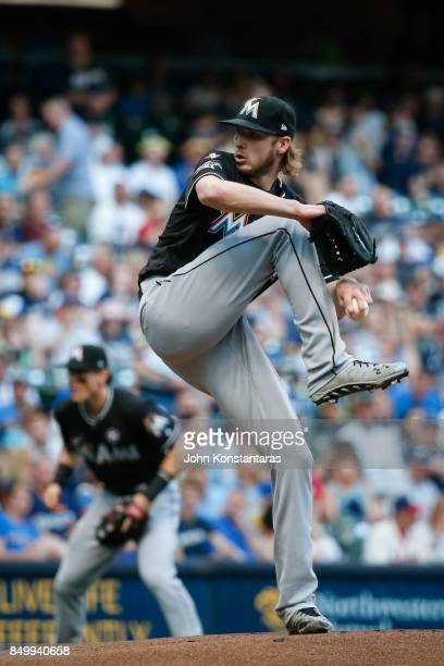 Adam Conley of the Miami Marlins delivers a pitch during the first inning against the Milwaukee Brewers at Miller Park on September 16 2017 in...