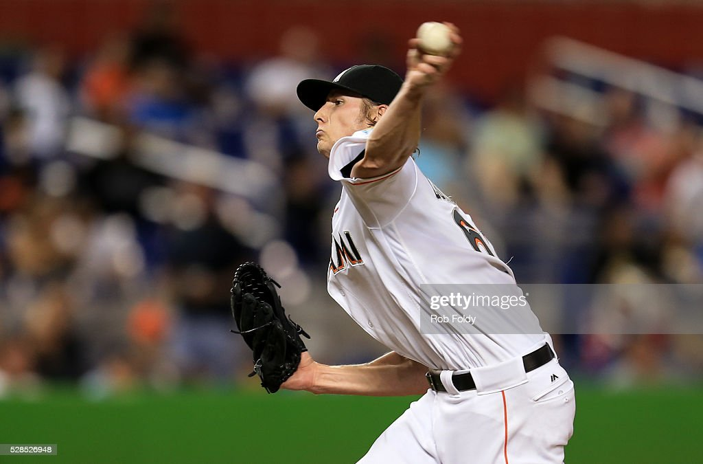 Adam Conley #61 of the Miami Marlins delivers a pitch during the game against the Arizona Diamondbacks at Marlins Park at Marlins Park on May 5, 2016 in Miami, Florida.