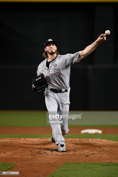 Adam Conley of the Miami Marlins delivers a warm up pitch against the Arizona Diamondbacks at Chase Field on September 22 2017 in Phoenix Arizona