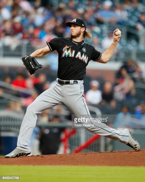 Adam Conley of the Miami Marlins delivers in the first inning of an MLB game against the Atlanta Braves at SunTrust Park on September 9 2017 in...