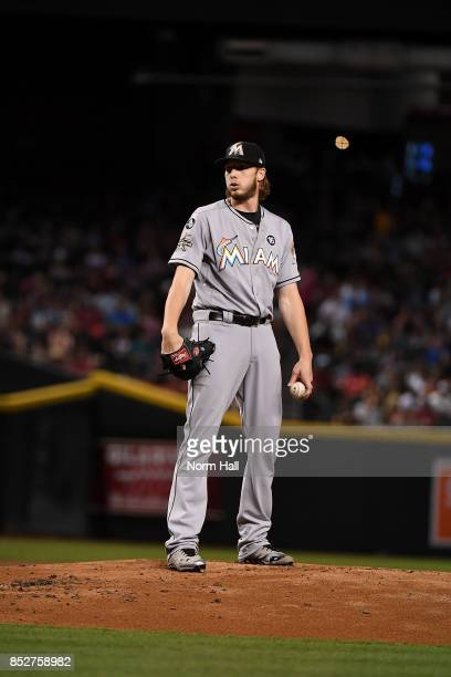 Adam Conley of the Miami Marlins gets ready to deliver a pitch against the Arizona Diamondbacks at Chase Field on September 22 2017 in Phoenix Arizona