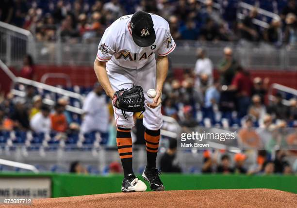 Adam Conley of the Miami Marlins in the first inning during the game between the Miami Marlins and the Pittsburgh Pirates at Marlins Park on April 28...